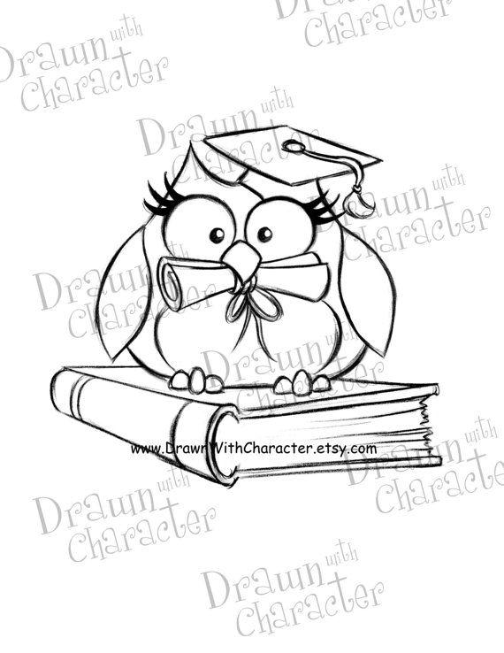 Owl Graduate Digital Stamp/ KopyKake Image SP12OWL