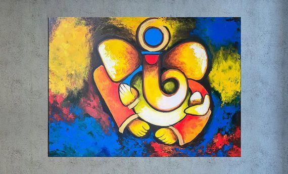 Ganesha Wall Art Indian Decor Modern Indian Art Abstract Etsy Ganesha Painting Modern Indian Art Colorful Abstract Art