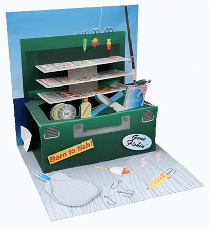 Tackle Box Fishing Treasures Pop Up Greeting Card