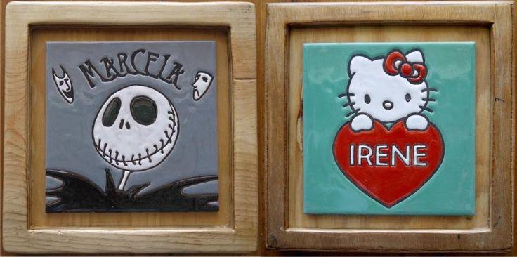 Dos placas hecha por encargo, personalizada para regalo. Realizadas en cuerda seca sobre azulejo de 15x15cm. cada uno.