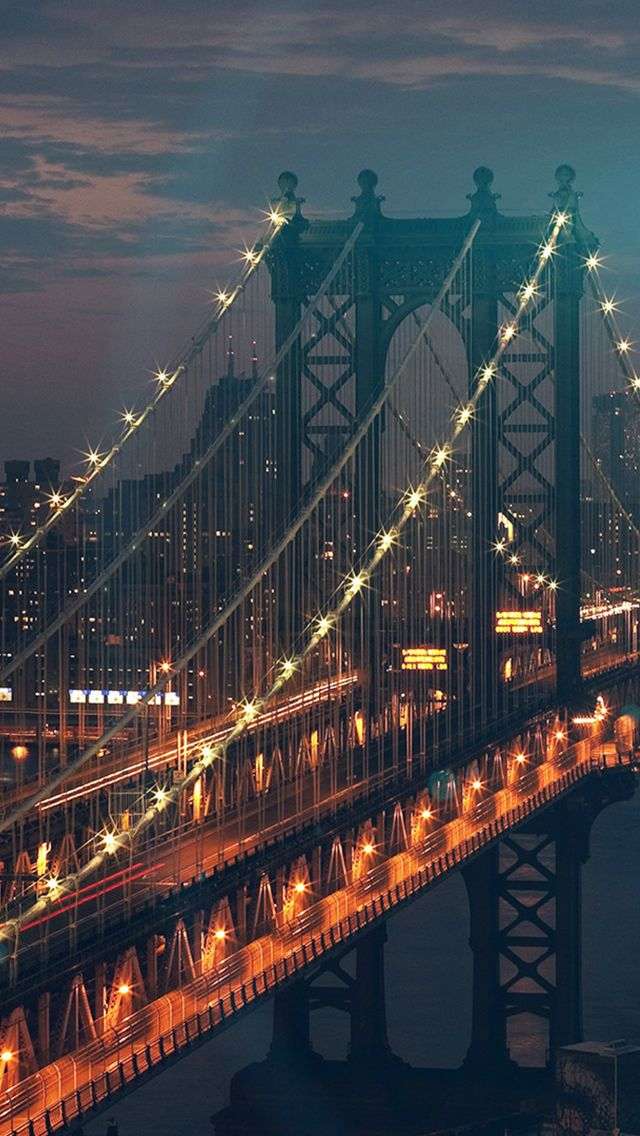 Bridge City River Flare Blue Night View Nature #iPhone #5s #wallpaper