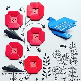 ケシとトリ 庭の雑草増えてきた、、(*_*) #おりがみ #イラスト #折り紙 #お花 #ことり #ポピー #ペーパークラフト #paperflower #illustration #origami #bird #poppy