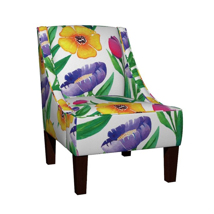Venda Sloped Arm Chair featuring Wildflower Garden by jessmorris | Roostery Home Decor