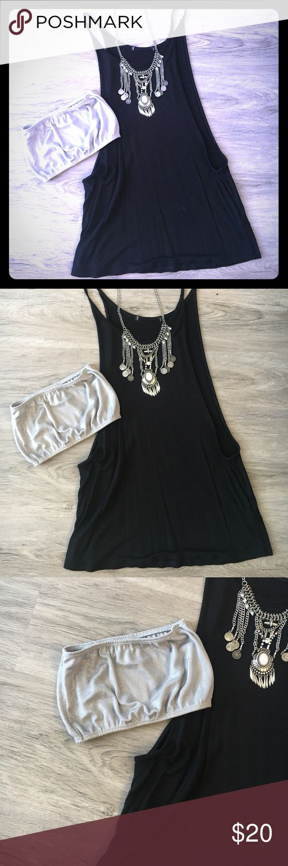 Shirt. Necklace. Bandeau combo Black deep arm hole tank looks cute with silver bandeau underneath and the funky necklace on top. Will ship same day of purchase ! Other