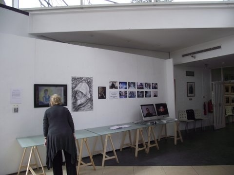 An exhibition by five art students. The images in the far right and on the screen are still shots from the Maidstone Oral History Project, put up by Fine Art student Joanna Robinson, recording memories of ex staff and students from the Maidstone College of Art