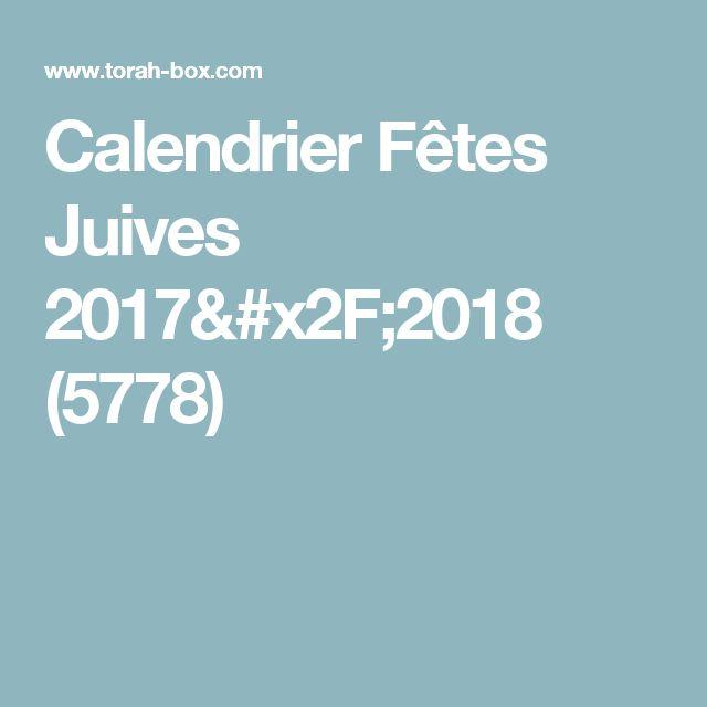 Calendrier Fêtes Juives 2017/2018 (5778)