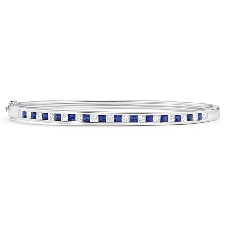 18ct Gold Natural Sapphire and Diamond Bangle (TW=1.05CT)