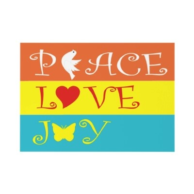 Peace, Love, Joy colourful striped Christmas flat card by zazzleproducts1 $1.70