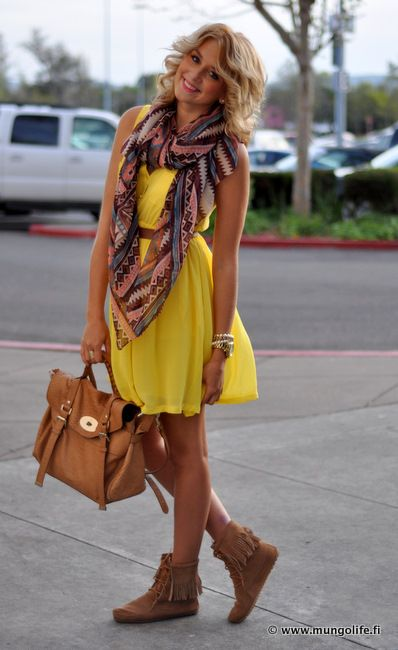 : Summer Dress, Style, Dream Closet, Cute Outfits, Transitional Outfit, Dresses, The Dress, Yellow Dress, Scarf