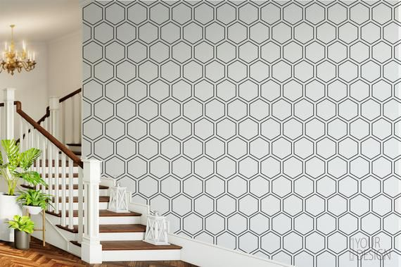 High Quality Peel And Stick Removable Self Adhesive Wallpaper Honeycomb Geometric Modern Wallpaper Peel And Stick Wallpaper Modern Wallpaper Home Wallpaper