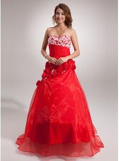 A-Line/Princess Sweetheart Floor-Length Organza Satin Quinceanera Dresses With Lace (021016389)