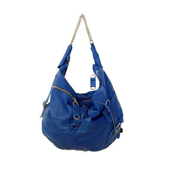 Marine blue leather hobo shoulder bag with strap par delacyonline, $400,00