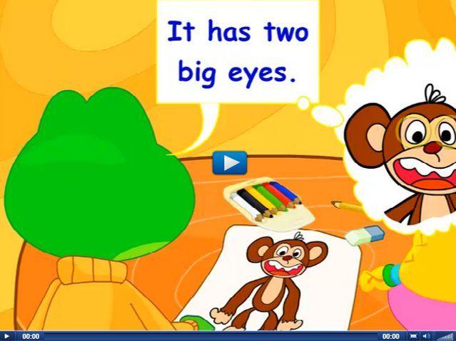 Engels leren aan kleuters met het digibord , kleuteridee.nl . it had two big eyes, it has a big mouth