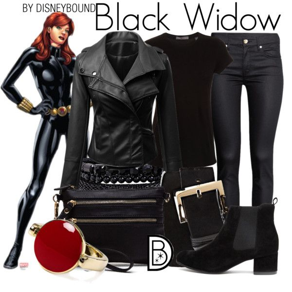 Black Widow by leslieakay on Polyvore featuring Vince, H&M, Aqua, Spring Street, Vince Camuto, disney, marvel, disneybound and disneycharacter