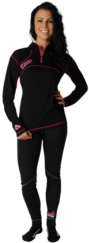 FXR Racing - 2015 Snowmobile Apparel - Women's Expedition 48% Merino 1/4 Pullover - Black