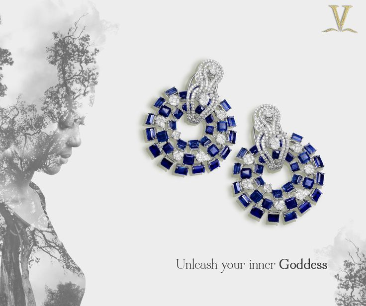 Your indomitable spirit is unique; these stunning sapphire studded  earrings are the adornment worthy of your inner Liberates.  #UnleashYourInnerGoddess.