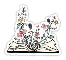 flowers growing from book Sticker: contigo he vivido mis mejores historias. Eres el personaje de mis mejores cuentos.