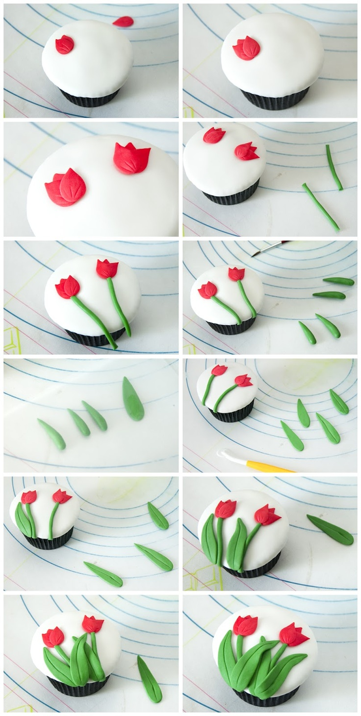 Tulip tutorial for cupcakes. Site has translate button.