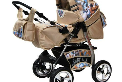 Lux4Kids King 2 in 1 Pram Combi Stroller & Pushchair (rain cover, mosquito net, beverage tray, mattress, changing mat) 54 Latte Macciato & Aqua Blume