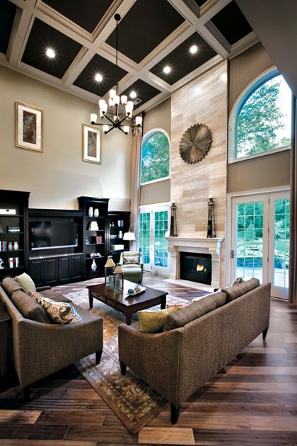 Toll Brothers...terrific grand room. Love the painted coffered ceiling.