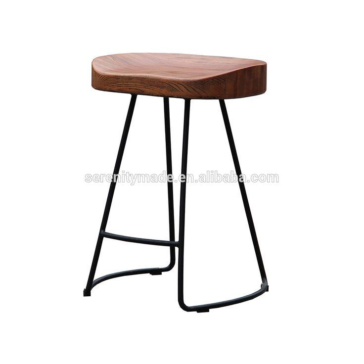 Unique metal legs wood seat bar stool for sale