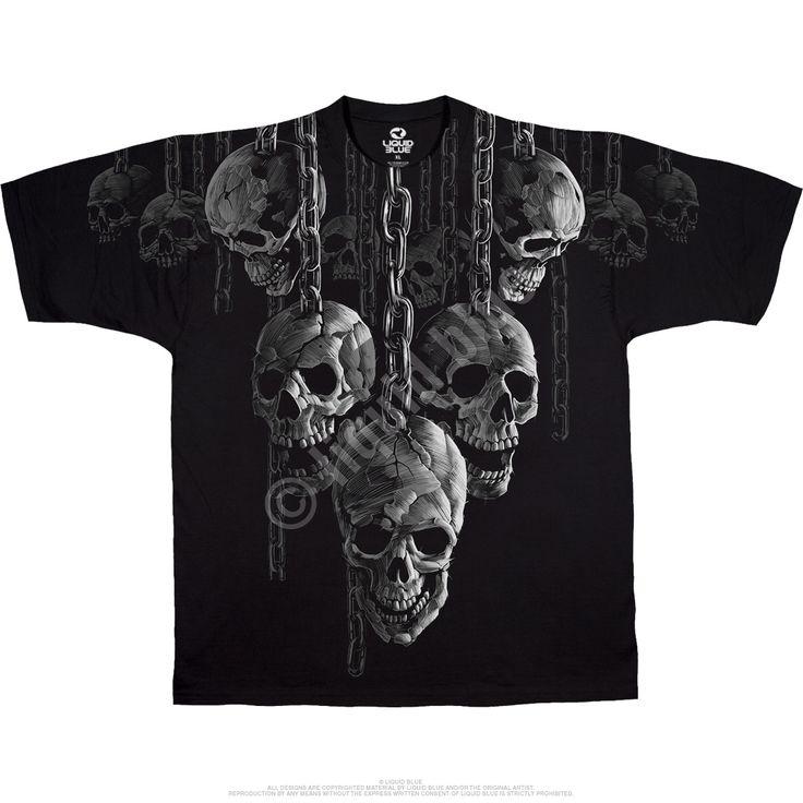 Kafatasları Siyah Atletik T-Shirt Tee Sıvı Blue Hanging Out