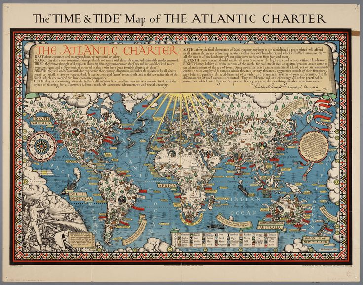 """The """"time and tide"""" map of the Atlantic charter / [cartography] London Geographical Institute 