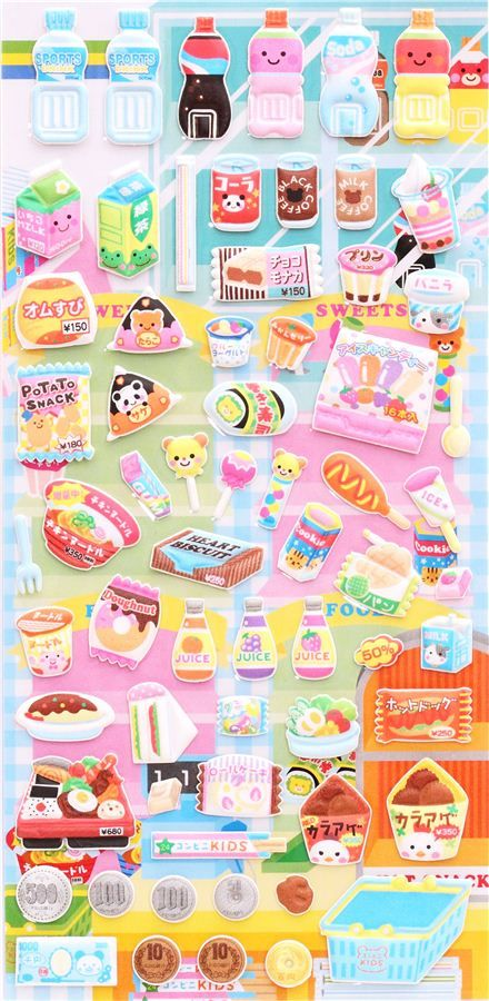 supermarket food sponge stickers and sticker book from Japan 2