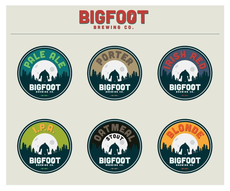 Simple branding carried across multiple beer styles. Bigfoot-Brewing.png 1,200×1,000 pixels