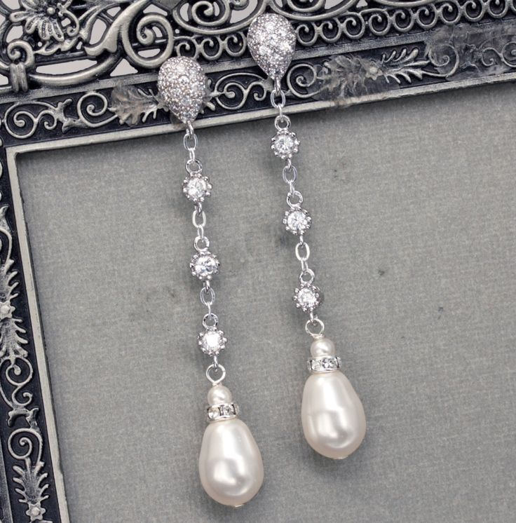 Long Pearl Dangle Earrings, Bridal Pearl Drop Earrings, Teardrop Pearl Earrings, Wedding Jewelry, Pearl and Rhinestone. $66.00, via Etsy.