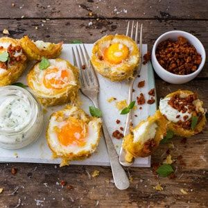 With chorizo crumbs and basil mayonnaise. Polenta and Egg Cups