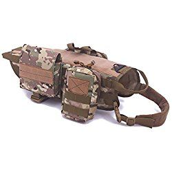 Darkyazi Tactical Dog Training Molle Vest Harness Service Pet Vest with 3 Detachable Pouches for Large Medium Dogs. (L, Camouflage)