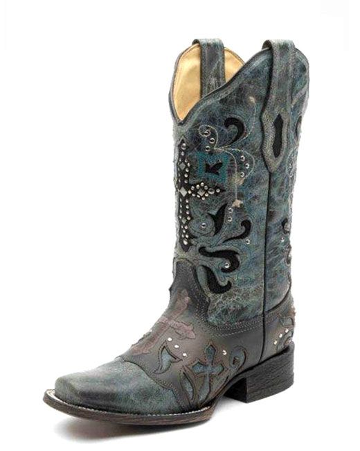 silver cowirl boots with blue accents  | Corral Women's Blue Jean Metal Cross Western Boots