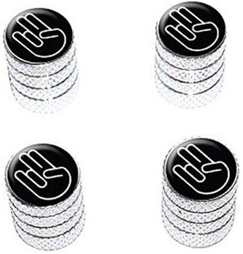 """(4 Count) Cool and Custom """"Diamond Etching The Shocker Hand Gesture Top with Easy Grip Texture"""" Tire Wheel Rim Air Valve Stem Dust Cap Seal Made of Genuine Anodized Aluminum Metal {Gleaming GMC Silver and Black Colors - Hard Metal Internal Threads for Easy Application - Rust Proof - Fits For Most Cars, Trucks, SUV, RV, ATV, UTV, Motorcycle, Bicycles} mySimple Products http://www.amazon.com/dp/B00YYYVW5K/ref=cm_sw_r_pi_dp_QVCEwb03WZR9J"""