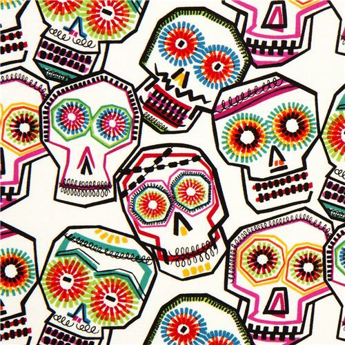 ecru alexander henry fabric with colourful skulls - Mexican Halloween Skulls