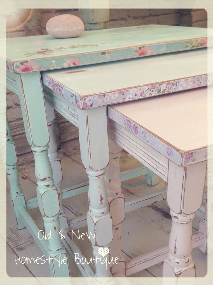 A beautiful nest of tables painted in pastel mint, blue & pink chalk paint…