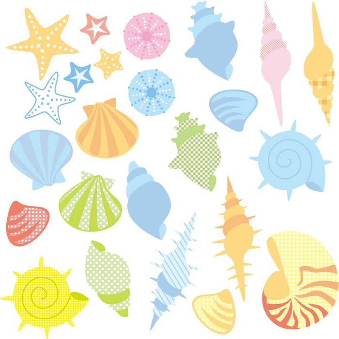フリーイラスト 貝殻とヒトデとウニ殻のセット 貝殻 イラスト ヒトデ イラスト イラスト