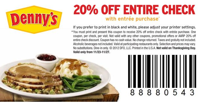 Bungalow 9 Restaurant Coupons Deals Discounts: DENNY'S $$ Reminder: Coupon For 20% Off Entire Check