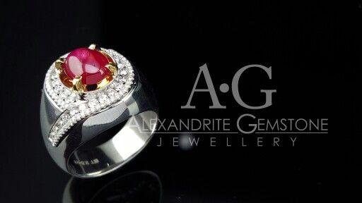 Men ring with Burmese ruby on center and diamonds surround it  Alexandrite Gemstone Jewellery