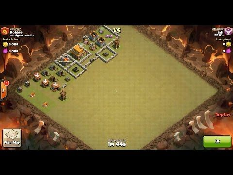 Clash of Clans TH4 vs TH5 Giant, Archer & Barbarian Clan War 3 Star Attack ⋆ Clash of Clans 3 Stars Clan Wars
