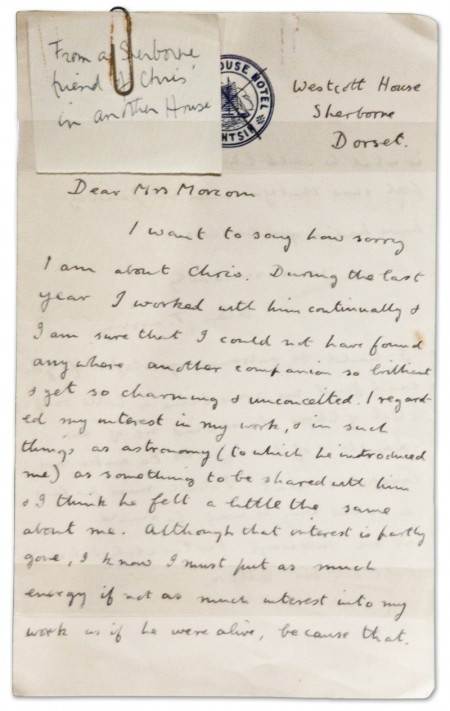 Alan Turing's letter to Christopher Morcom's mother. Christopher was Alan's first love, and he died very young. Just 17 when he passed. Alan was heartbroken.