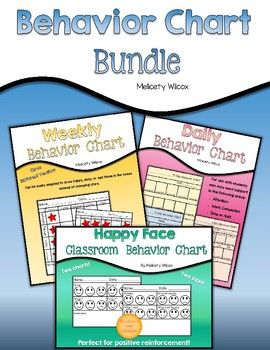 This is a bundle of my three behavior charts, which you may see in more depth by using links below.  These are great to help manage students with autism, behavior, or other classroom needs.Daily Behavior Chart, Happy / Okay / Sad FaceTime on Task Behavior ChartWeekly Behavior ChartI have created and used these in my classroom to help support positive behavior in students.