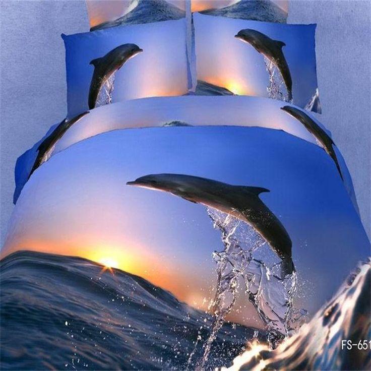 Sunset Ocean Dolphin 3d Bedding Sets Queen Size 100% Cotton Fabric Bed Sheets Pillowcase 3D Sea Duvet Covers Set 4pcs on Sale