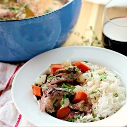 Make this Coq Au Vin (Chicken in Wine) on Sunday to serve up Monday night for New Year's Eve dinner