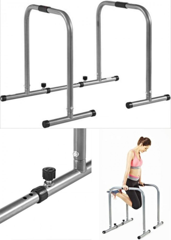 Dip Station Exercise Workout Pull Push Up Bar Stand Power Home Gym Equipment #DipStation
