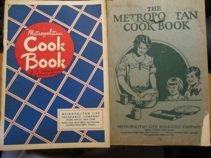 mettopolitan life cookbooks 1940's set of 2 bayside, ny usa metlife insurance