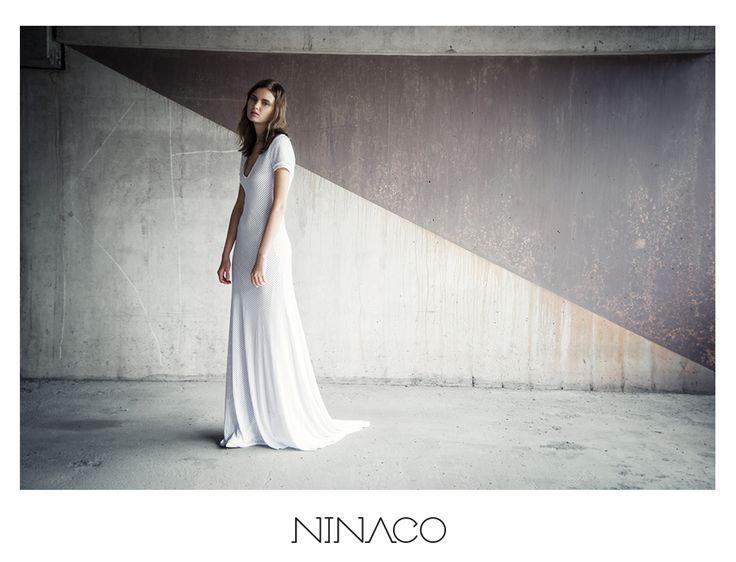 Ninaco Couture Id campaign Photographer Mikko Rasila Muah Miika Kemppainen Style Nina Hirvonen Model Maria V from Paparazzi Model Management www.ninaco.co white long minimal evening gown sport lux