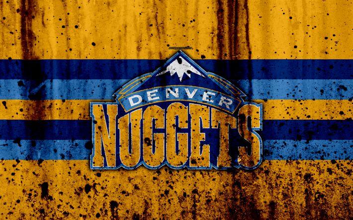 Download wallpapers 4k, Denver Nuggets, grunge, NBA, basketball club, Western Conference, USA, emblem, stone texture, basketball, Northwest Division