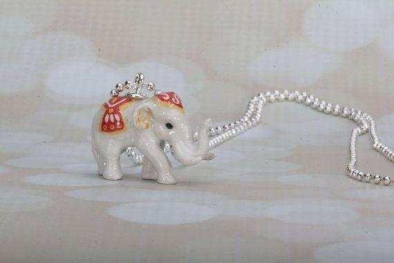 Gelukkig witte olifant ketting  olifant  Indische door Frenchtutu