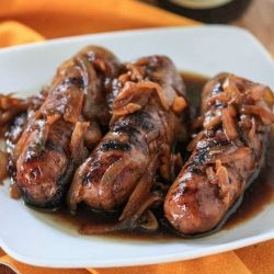 Beer Brats with Caramelized Onions.